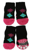 Black and Pink Argyle Chihuahua Socks