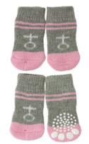 Grey and Pink ''Venus'' Chihuahua Socks