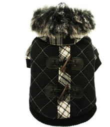 black duffle coat with hood luxury chihuahua dog coat
