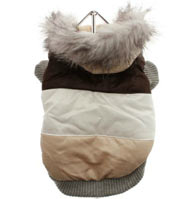 brown striped luxury ski parka for small dogs