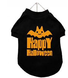 chihuahua t-shirt for Halloween with orange bat